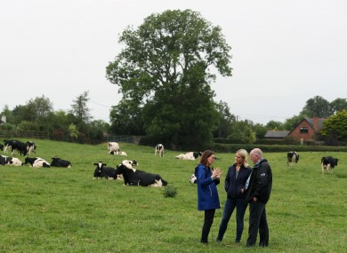 Farmer Gerard McArdle welcome an Irish and French minister during a visit to his dairy farm in Faughart, Co. Louth, close to the border with Northern Ireland. July 2019.