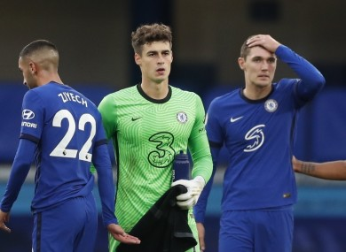 Chelsea players dejected after Kepa makes another mistake.
