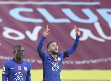 Chelsea's Hakim Ziyech, right, celebrates.