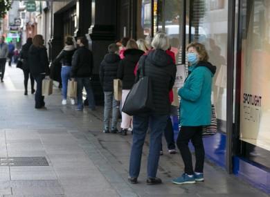 Socially distanced shoppers in Dublin last week