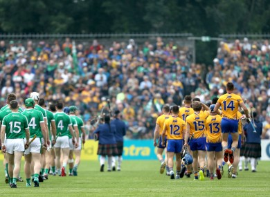Clare and Limerick teams during the parade before their 2018 championship clash.