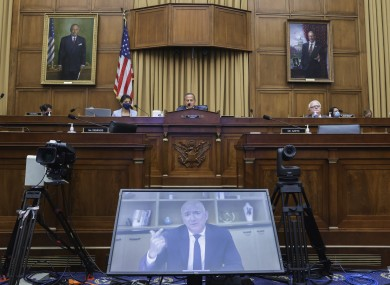Amazon CEO Jeff Bezos speaks via video conference during a House Judiciary subcommittee in July
