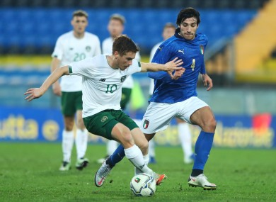Connor Ronan in action for the Ireland U21s.