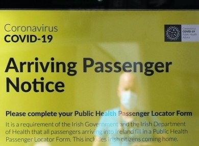 A notice for arriving passengers at Dublin Airport.