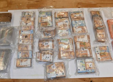 The drugs and cash seized by gardaí.