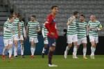 Celtic players celebrate after Mohamed Elyounoussi scored their opening goal.