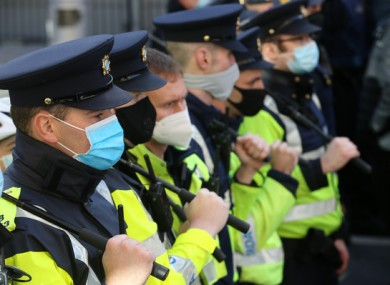 Gardaí at the demonstration today.