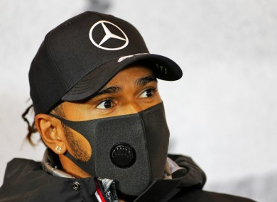 Mercedes driver Lewis Hamilton pictured today.