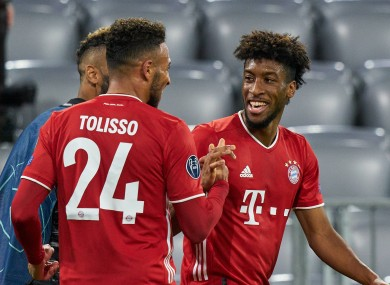 Kingsley Coman celebrates after scoring for Bayern Munich.