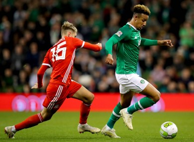 Ireland's Callum Robinson and David Brooks of Wales when the sides met in 2018.