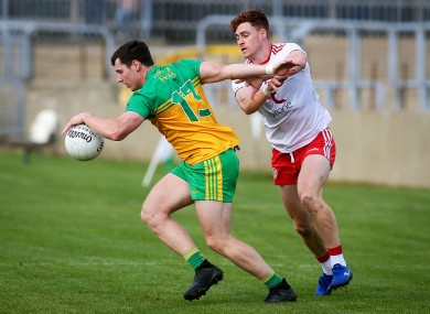 Donegal's Jamie Brennan and Tyrone's Conor Meyler.