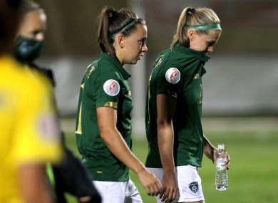 Ireland's Katie McCabe and Ruesha Littlejohn dejected after the loss against Ukraine earlier this month.