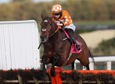 Aspire Tower ridden by Rachael Blackmore clears the last before going on to win the WKD Hurdle at Down Royal Racecourse.