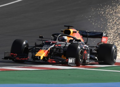 Red Bull driver Max Verstappen steers his car during today's practice session.