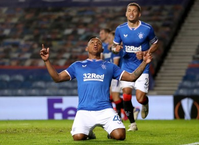 Alfredo Morelos in action for Rangers against Lech Poznan in the Europa League.