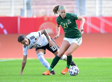 Ruesha Littlejohn gets away from Dzsenifer Marozsan during Ireland's defeat to Germany last month.