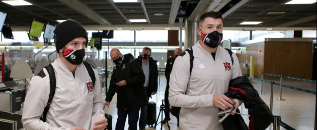 Sean Murray and Brian Gartland at the airport departing for the clash with Arsenal.