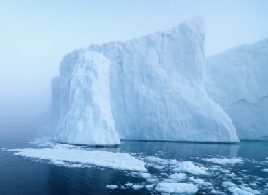 Glaciers melting in the Arctic Ocean off Greenland.