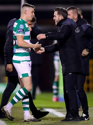 Shamrock Rovers boss Stephen Bradley with Gary O'Neill after a recent game.