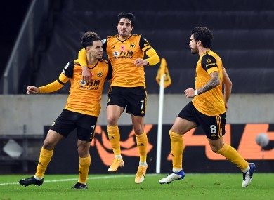 Rayan Ait-Nouri celebrates after scoring for Wolves.