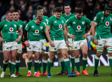 Irish players react to February's defeat to England.