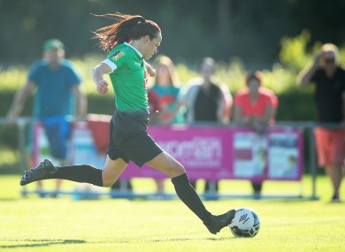 Aine O'Gorman scored again today to keep the pressure on Shelbourne.