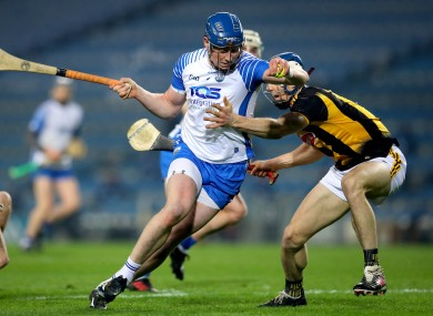 Austin Gleeson in action for Waterford against Kilkenny's Huw Lawlor.