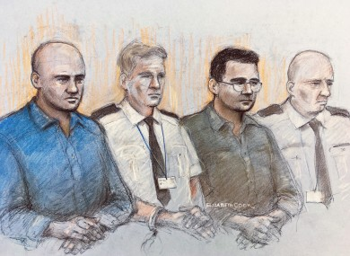 Courtroom sketch of Gheorghe Nica (left) and Eamonn Harrison (right)