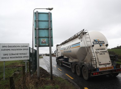 A truck passes along the Northern Ireland border (file photo)