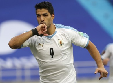 Suarez celebrating a goal against Colombia on Friday.