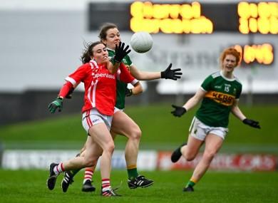 Anna Galvin of Kerry puts Cork's Melissa Duggan under pressure.