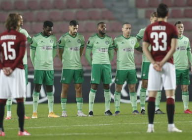 Celtic and Sparta Prague players observing a minute's silence in memory of Diego Maradona before kick-off.