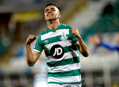 Dean Williams celebrates after scoring for Shamrock Rovers during their recent win against Waterford at Tallaght Stadium.