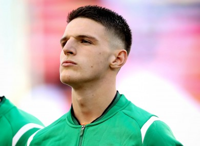 Declan Rice pictured playing for Ireland in 2018.