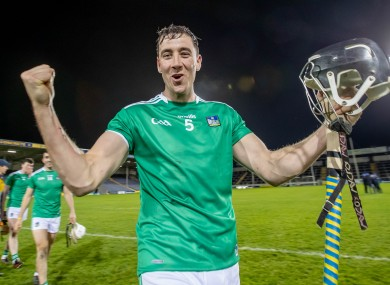 Diarmaid Byrnes celebrates after Limerick's victory.
