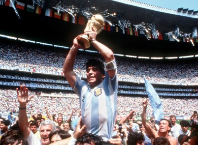 Maradona at his prime with the '86 World Cup.