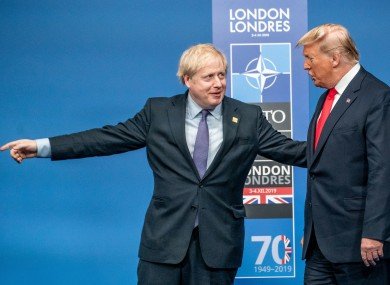UK Prime Minister Boris Johnson and US President Donald Trump in December 2019