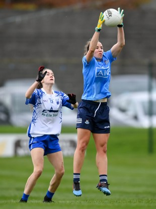 Dublin's Orlagh Nolan competes with Waterford's Aoife Murray.