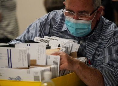 Lehigh County workers count ballots in Allentown, Pennsylvania.