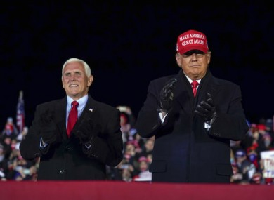 MIke Pence and Donald Trump at a pre-election rally.