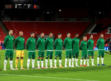 The Republic of Ireland team pictured prior to their fixture against England last week at Wembley.