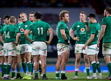 Irish players dejected after today's defeat.