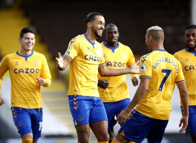 Goalscorer Dominic Calvert-Lewin celebrates with Richarilson and his Toffees team-mates.