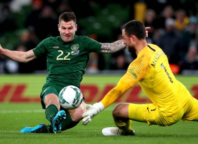 James Collins in action for Ireland in a friendly against New Zealand last year.