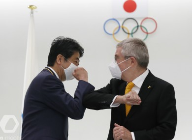 Former Japan's Prime Minister Shinzo Abe and Thomas Bach, President of the International Olympic Committee in Tokyo today.