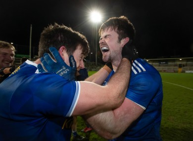 Killian Brady and Thomas Galligan of Cavan celebrate beating Donegal in the Ulster final.