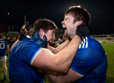 Killian Brady and Thomas Galligan of Cavan celebrate beating Donegal in the Ulster Football Final.