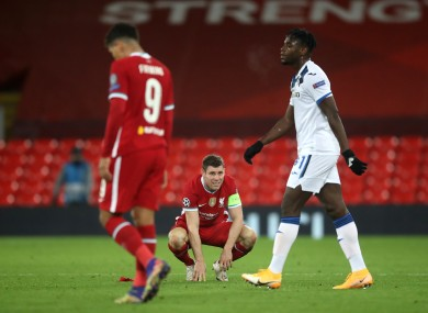 Liverpool's James Milner looking dejected after tonight's defeat to Atalanta at Anfield.