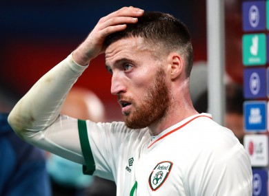 Matt Doherty dejected after the game.