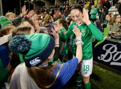 Megan Campbell with fans after the Ukraine game last year.